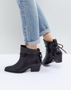 Read more about Hudson london macha black leather mid heeled ankle boots - black