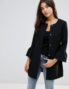 Read more about Jdy coat with frill sleeve detail - black