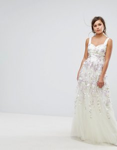 Read more about Chi chi london tulle maxi dress with floral embroidery - ivory multi