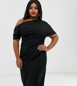 Read more about Asos design curve pleated shoulder pencil dress - black