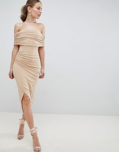 Read more about Asos design kimmi slinky ruched bardot midi dress - nude