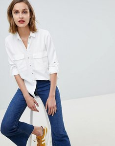 Read more about Mango pocket front shirt in white - off white
