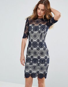Read more about Paper dolls navy crochet lace dress with contrast lining - black