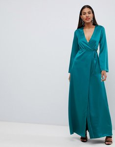 Read more about Asos design wrap satin maxi dress with long sleeve - teal
