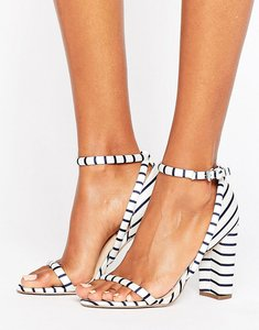 Read more about Office stripes barely there heeled sandals - stripe satin