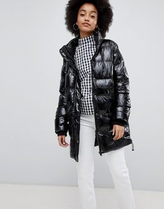 Read more about Urban bliss padded high shine coat - black