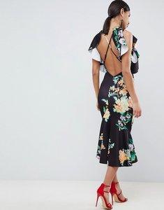Read more about Asos design floral scuba ruffle cold shoulder pephem midi dress - multi