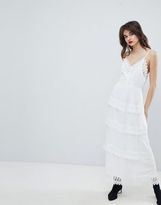 Read more about Vero moda dobby spot maxi dress with crochet detail - snow white