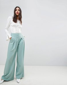 Read more about Asos design double pleat uber wide leg trouser - sage green