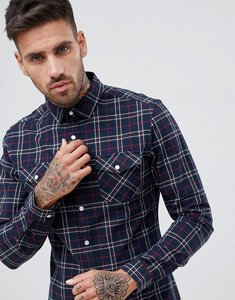 Read more about Asos design stretch slim check western shirt in navy red - navy