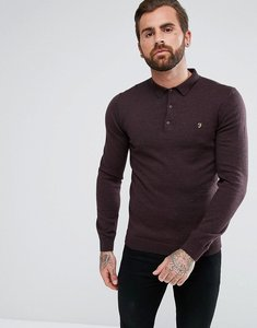 Read more about Farah maidwell slim fit merino knitted polo in burgundy - bordeaux 507