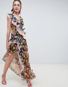 Read more about Asos design mixed floral print ruffle asymmetric maxi dress - floral print