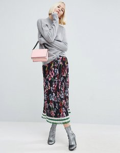 Read more about Asos pleated midi skirt in border print - multi