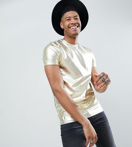 Read more about Asos design festival tall longline t-shirt in gold metallic - gold