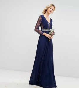 Read more about Tfnc tall pleated maxi dress with long sleeves and lace inserts with embellished waist - navy
