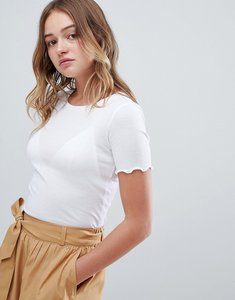 Read more about Monki frill edge ribbed t-shirt in white - white