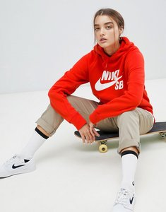 Read more about Nike sb logo hoodie in red with white branding - red