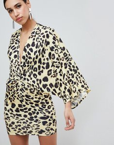 Read more about Flounce london leopard print wrap front kimono mini dress - yellow leo