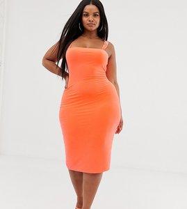 Read more about Fashionkilla plus square neck midi dress with buckle strap detail in fluro orange