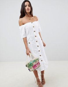 Read more about Asos design button through off shoulder midi dress with buttons - white
