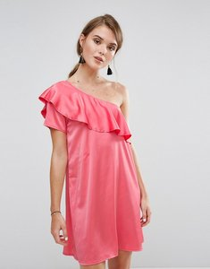 Read more about Rage one shoulder satin frill dress - coral