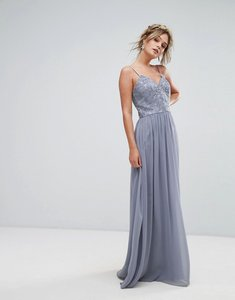 Read more about Chi chi london cami strap maxi dress with premium lace - grey