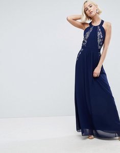 Read more about Little mistress lace exposed back maxi dress - navy
