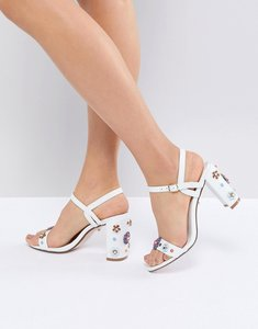 Read more about Dune summer leather embellished floral going out heeled shoes - white