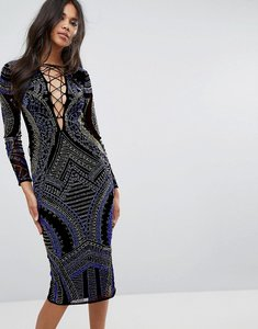 Read more about Asos deep plunge lace up embellished midi dress - multi