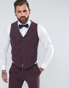 Read more about Asos wedding skinny suit waistcoat in berry wool mix - purple