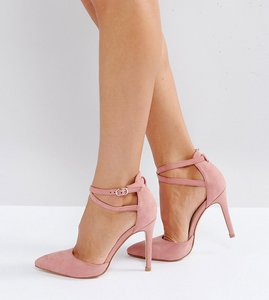 Read more about Truffle collection wide fit bow trim court shoe heels - dusty pink micro