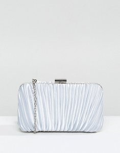 Read more about Chi chi london ruched clutch bag in satin - light grey