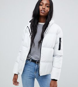 Read more about Brave soul tall karen padded coat with hood - white black