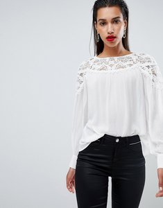 Read more about Morgan lace detail blouse - white