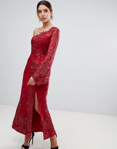 Read more about Bariano one shoulder embroidered lace midi dress in red