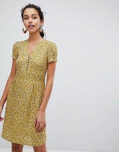 Read more about Esprit floral print button front tea dress - yellow