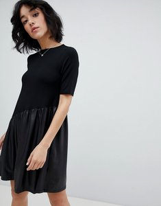 Read more about Asos mini smock dress with asymmetric pu panel - black