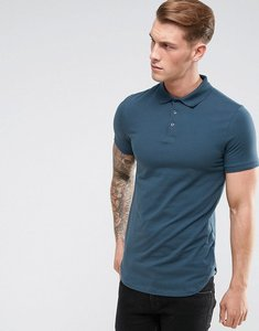 Read more about Asos longline muscle polo in dark grey with bound curved hem - dk slate
