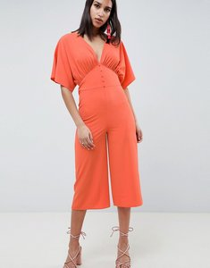 Read more about Asos design tea jumpsuit with kimono sleeve and button detail - coral
