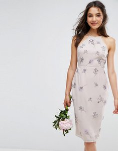 Read more about Asos wedding embellished drape back midi dress - grey