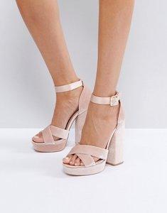 Read more about Faith blush velvet and satin platform sandals - pink