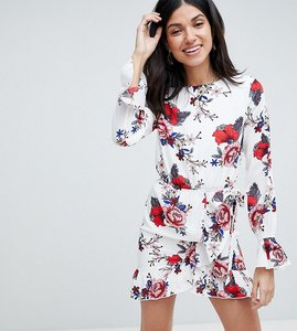 Read more about Parisian tall floral dress with tie waist and sleeve detail - white