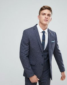 Read more about Farah skinny wedding suit jacket in navy fleck - navy