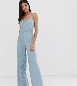 Read more about Little mistress tall cami strap wide leg jumpsuit with lace detail