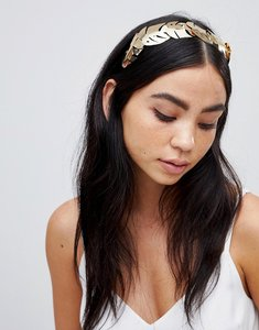 Read more about Asos statement palm leaf headband - gold