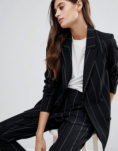 Read more about Vero moda striped double breasted blazer - black