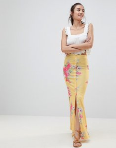 Read more about Asos maxi skirt with button front in tea floral print - multi
