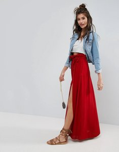 Read more about Asos maxi skirt with belt and thigh split - red