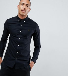 Read more about Farah sanfers skinny fit buttondown oxford shirt in black - black