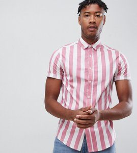 Read more about Asos design tall skinny stripe shirt in pink - pink
